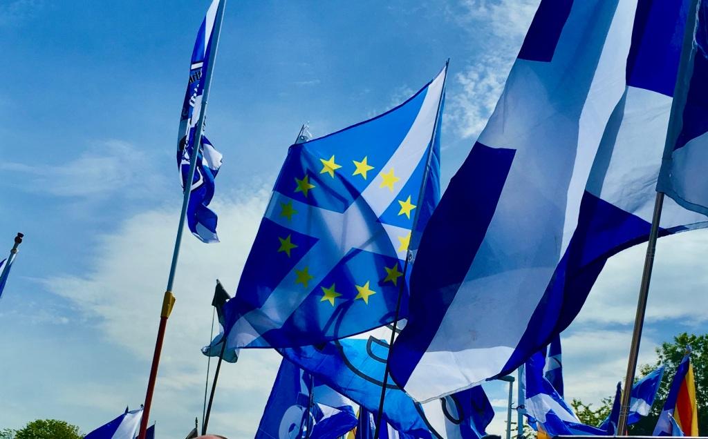 EU and Scotland flag. Photo by Susan T Braithwaite